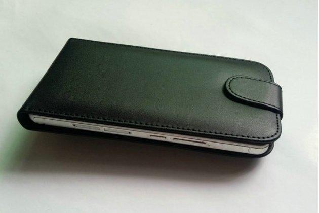 """Фирменный оригинальный вертикальный откидной чехол-флип для Lenovo Vibe B (A2016A40) PA4R0021RU 4.5"""" черный кожаный"""