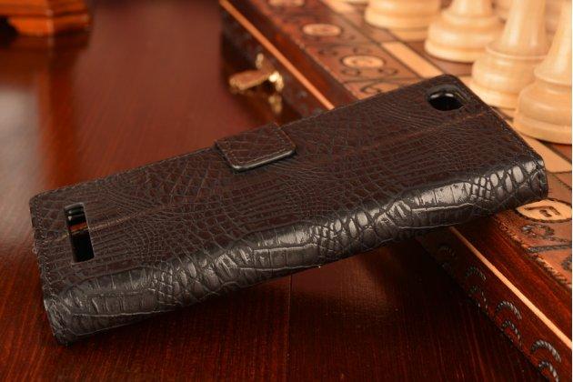 """Фирменный чехол-книжка с подставкой для Lenovo Vibe C (A2020 / A2020a40 Dual Sim ) 5.0""""  лаковая кожа крокодила черный"""