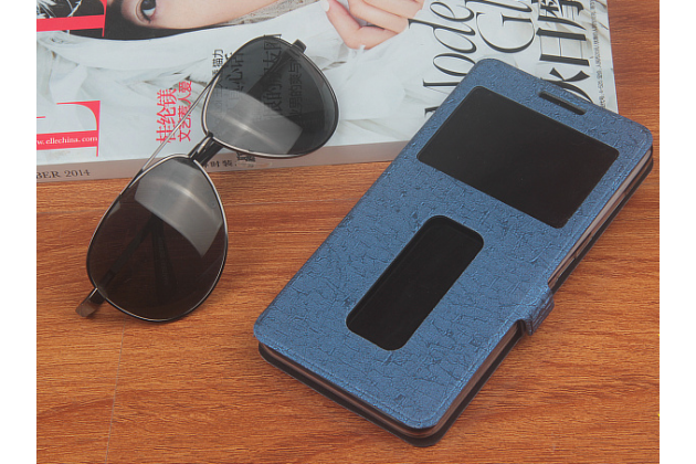"""Фирменный чехол-книжка для Lenovo Vibe C (A2020 / A2020a40 Dual Sim /A3910 ) 5.0"""" синий с окошком для входящих вызовов и свайпом водоотталкивающий"""
