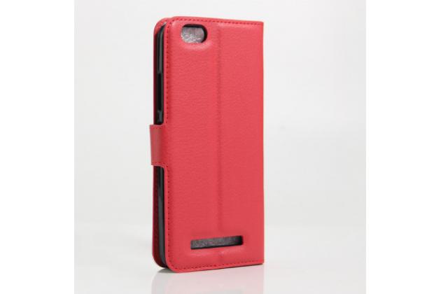 """Фирменный чехол-книжка из качественной импортной кожи с мульти-подставкой застёжкой и визитницей для Lenovo Vibe C (A2020 / A2020a40 Dual Sim ) 5.0"""" красный"""