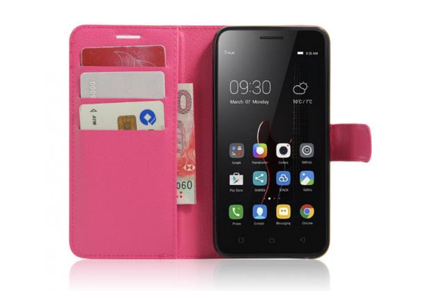 """Фирменный чехол-книжка из качественной импортной кожи с мульти-подставкой застёжкой и визитницей для Lenovo Vibe C (A2020 / A2020a40 Dual Sim ) 5.0"""" розовый"""