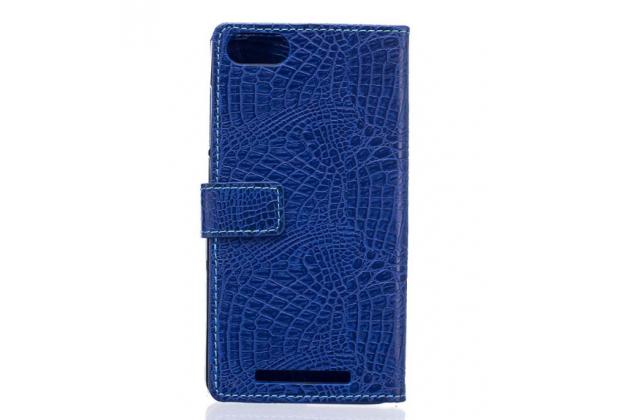 """Фирменный чехол-книжка с подставкой для Lenovo Vibe C (A2020 / A2020a40 Dual Sim ) 5.0""""  лаковая кожа крокодила фиолетовый"""
