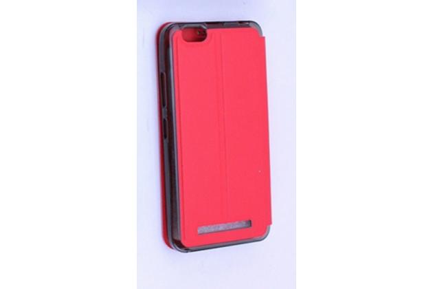 """Фирменный оригинальный чехол-книжка для Lenovo Vibe C (A2020 / A2020a40 Dual Sim /A3910 ) 5.0"""" красный с окошком для входящих вызовов водоотталкивающий"""