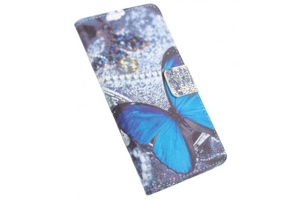 """Фирменный уникальный необычный чехол-книжка для Lenovo Vibe C (A2020 / A2020a40 Dual Sim /A3910 ) 5.0"""" """"тематика радужные Бабочки"""""""