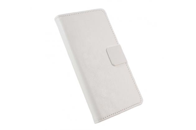 """Фирменный чехол-книжка для Lenovo Vibe C2 5.0"""" / VIBE C2 Power/ K10 ( K10A40/ PA450118RU)  с визитницей и мультиподставкой белый кожаный"""