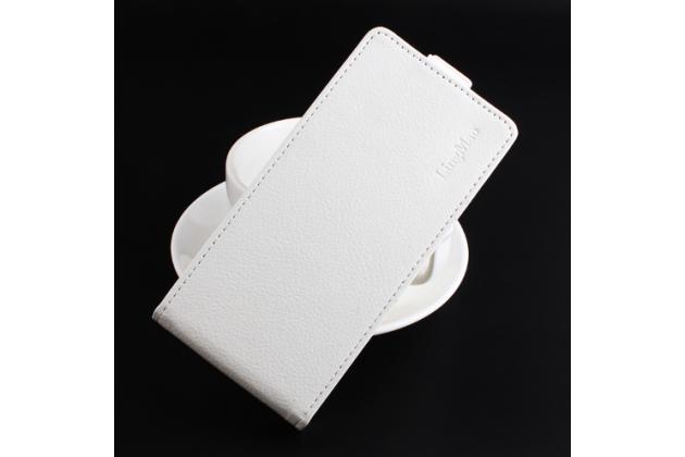 """Фирменный оригинальный вертикальный откидной чехол-флип для  Lenovo Vibe C2 5.0"""" / VIBE C2 Power/ K10 ( K10A40/ PA450118RU) белый кожаный"""