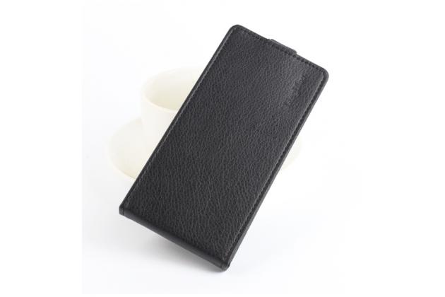 """Фирменный оригинальный вертикальный откидной чехол-флип для Lenovo Vibe C2 5.0"""" / VIBE C2 Power/ K10 ( K10A40/ PA450118RU) черный кожаный"""