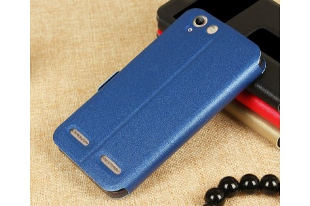 """Фирменный чехол-книжка для Lenovo Vibe K5/ Vibe K5 Plus (A6020 / A6020a40 / A6020a46) 5.0""""  синий с окошком для входящих вызовов и свайпом водоотталкивающий"""