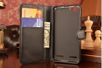"""Фирменный чехол-книжка из качественной импортной кожи с подставкой застёжкой и визитницей для Lenovo Vibe K5/ Vibe K5 Plus (A6020 / A6020a40 / A6020a46) 5.0""""/ Леново Вайб К5/К5 Плюс черный"""