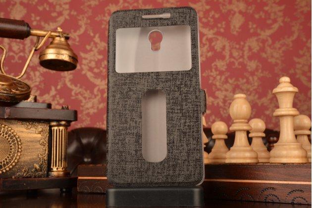 """Фирменный чехол-книжка для Lenovo Vibe P1 / P1 Pro (C72) 5.5"""" черный с окошком для входящих вызовов и свайпом водоотталкивающий"""