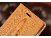 Фирменный роскошный эксклюзивный чехол с объёмным 3D изображением кожи крокодила коричневый для Lenovo Vibe P1..