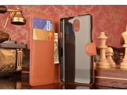 Фирменный чехол-книжка из качественной импортной кожи с подставкой застёжкой и визитницей для Леново Вайб Р1м ..