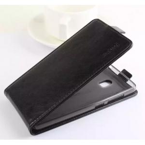 """Фирменный оригинальный вертикальный откидной чехол-флип для Lenovo Vibe P1 / P1 Pro (C72) 5.5"""" черный из натуральной кожи """"Prestige"""" Италия"""