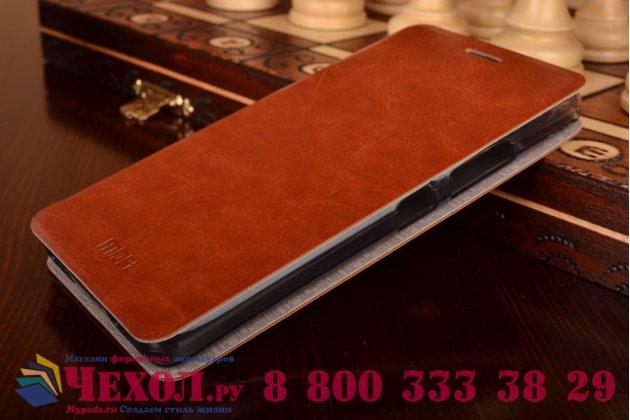 """Фирменный чехол-книжка из качественной водоотталкивающей импортной кожи на жёсткой металлической основе для Lenovo Vibe P1m 5.0"""" / P1ma40 / PA1G0001RU / 002RU коричневый"""