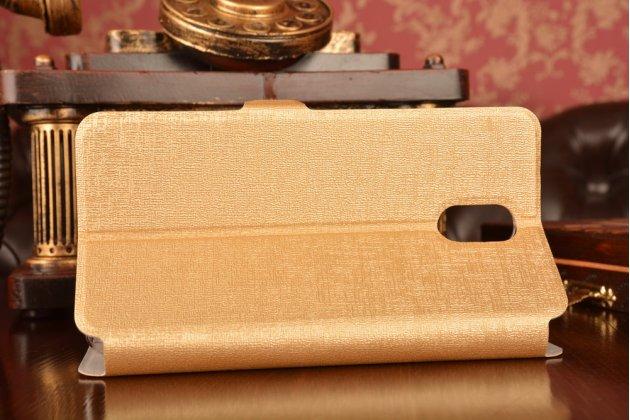 """Фирменный чехол-книжка для Lenovo Vibe P1m 5.0"""" / P1ma40 / PA1G0001RU / 002RU золотой с окошком для входящих вызовов и свайпом водоотталкивающий"""