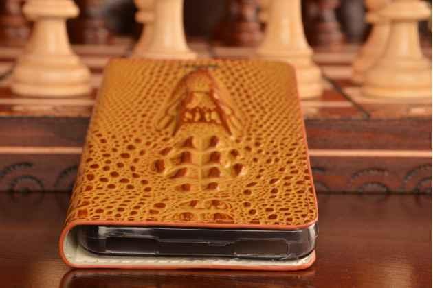 """Фирменный роскошный эксклюзивный чехол с объёмным 3D изображением кожи крокодила коричневый для Lenovo Vibe P1m (C5m) 5.0"""" . Только в нашем магазине. Количество ограничено"""