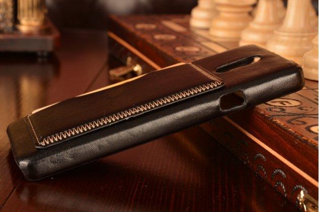"""Фирменная роскошная элитная премиальная задняя панель-крышка для Lenovo Vibe P1m 5.0"""" / P1ma40 / PA1G0001RU / 002RU из качественной кожи буйвола с визитницей черная"""