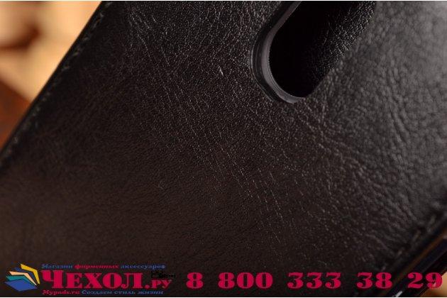 """Фирменный оригинальный вертикальный откидной чехол-флип для Lenovo Vibe P1m 5.0"""" / P1ma40 / PA1G0001RU / 002RU черный из натуральной кожи """"Prestige"""" Италия"""