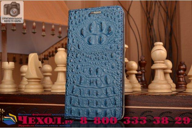 """Фирменный роскошный эксклюзивный чехол с объёмным 3D изображением рельефа кожи крокодила синий для Lenovo Vibe P1m (C5m) 5.0"""". Только в нашем магазине. Количество ограничено"""