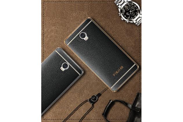 Фирменная премиальная элитная крышка-накладка из качественного силикона с дизайном под кожу для Lenovo Vibe P2  черная