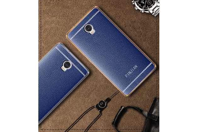 Фирменная премиальная элитная крышка-накладка из качественного силикона с дизайном под кожу для Lenovo Vibe P2  синяя