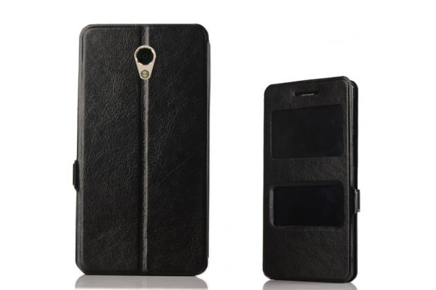 Фирменный чехол-книжка для Lenovo Vibe P2 черный с окошком для входящих вызовов и свайпом водоотталкивающий