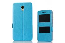 Фирменный чехол-книжка для Lenovo Vibe P2 синий с окошком для входящих вызовов и свайпом водоотталкивающий