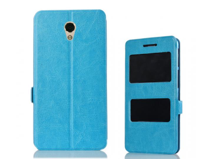 Фирменный чехол-книжка для Lenovo Vibe P2 синий с окошком для входящих вызовов и свайпом водоотталкивающий..