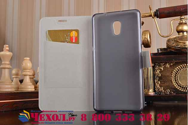 Фирменный чехол-книжка из качественной импортной кожи с подставкой застёжкой и визитницей для Lenovo Vibe P2 коричневый