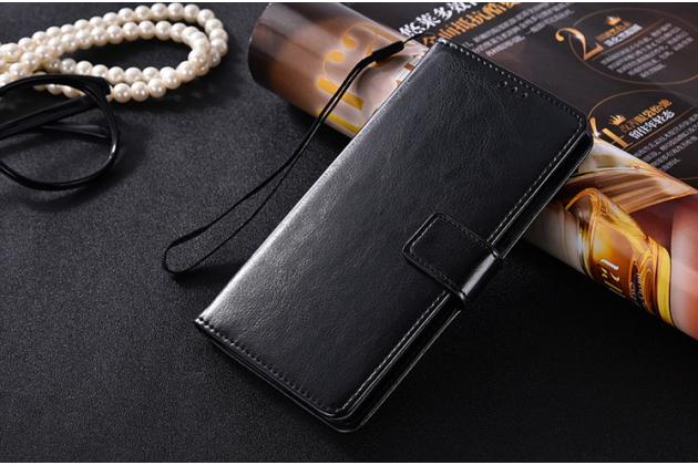 Фирменный чехол-книжка  из качественной импортной кожи с застёжкой и мультиподставкой для Lenovo Vibe P2 черный