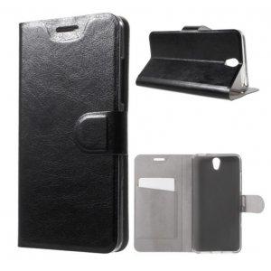 Фирменный чехол-книжка с визитницей из качественной импортной кожи на жёсткой металлической основе для Леново Вайб Эс1 черный