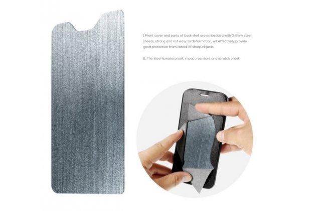 Фирменный чехол-книжка с визитницей из качественной импортной кожи  для Леново Вайб Эс1 черный