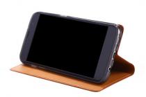Фирменный неповторимый чехол-книжка для Lenovo Vibe S1 из импортной кожи коричневый