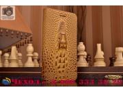 Фирменный роскошный эксклюзивный чехол с объёмным 3D изображением кожи крокодила коричневый для Lenovo Vibe S1..