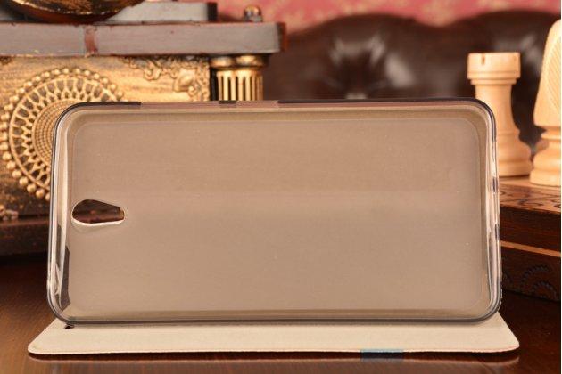 Фирменный чехол-книжка водоотталкивающий с мульти-подставкой  для Lenovo Vibe S1 серый с оранжевой полосой