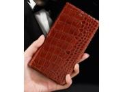 Фирменная элегантная чехол-книжка с фактурной отделкой натуральной кожи крокодила кофейного цвета для Lenovo V..