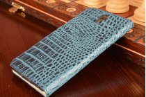 Фирменный роскошный эксклюзивный чехол с объёмным 3D изображением рельефа кожи крокодила синий для Lenovo Vibe S1. Только в нашем магазине. Количество ограничено
