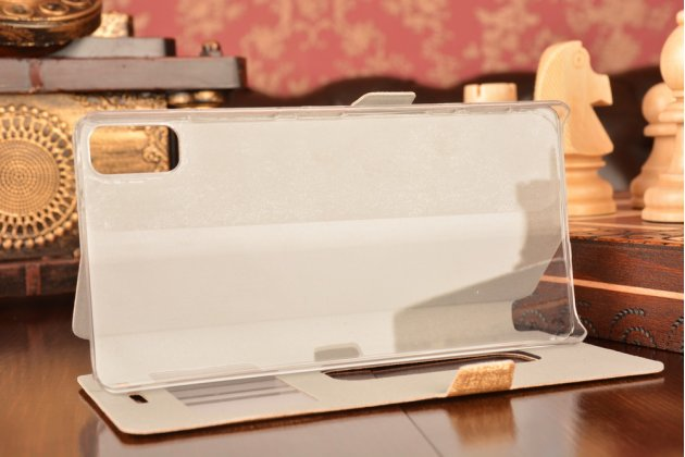 Фирменный чехол-книжка для Lenovo Vibe Shot Z90/Z90-3/Z90-7/Z90-A40/Z90A40 LTE 5.0 золотой с окошком для входящих вызовов и свайпом водоотталкивающий