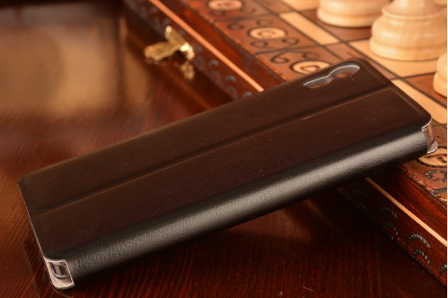 Фирменный чехол-книжка из качественной водоотталкивающей импортной кожи на жёсткой металлической основе для Lenovo Vibe Shot Z90/Z90-3/Z90-7/Z90-A40/Z90A40 LTE 5.0 черный