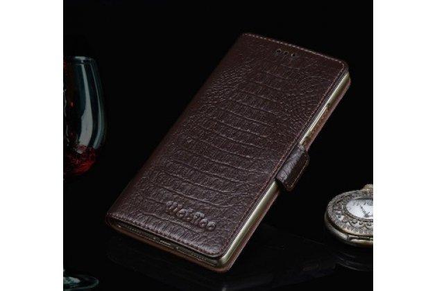 Фирменный роскошный эксклюзивный чехол из кожи крокодила коричневый для Lenovo Vibe X2 Pro . Только в нашем магазине. Количество ограничено
