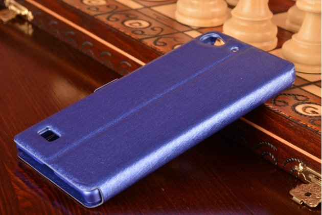 Фирменный чехол-книжка для Lenovo VIBE X2 фиолетовый с окошком для входящих вызовов и свайпом водоотталкивающий