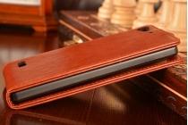 """Фирменный оригинальный вертикальный откидной чехол-флип для Леново Вайб Х2 (LBP0RM001) коричневый из качественной импортной кожи """"Prestige"""" Италия"""