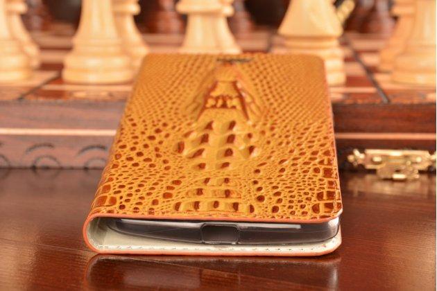 Фирменный роскошный эксклюзивный чехол с объёмным 3D изображением кожи крокодила коричневый для Lenovo Vibe Х3/ X3c50/ X3c70 . Только в нашем магазине. Количество ограничено