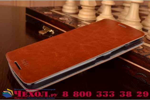 """Фирменный чехол-книжка из качественной водоотталкивающей импортной кожи на жёсткой металлической основе для Lenovo Vibe Х3/ X3c50/ X3c70 5.5"""" коричневый"""
