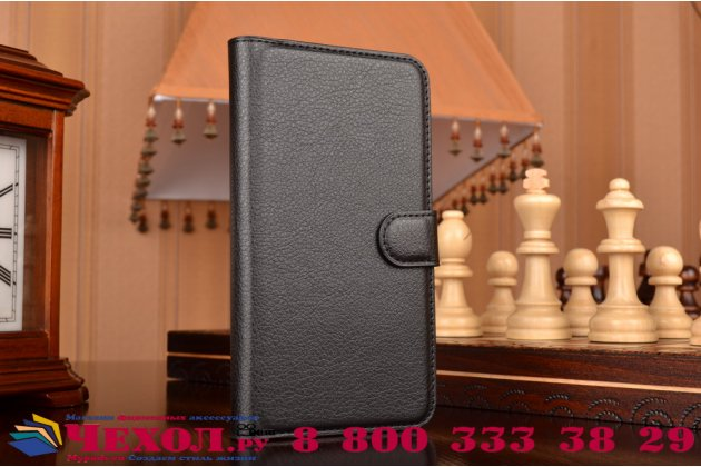 """Фирменный чехол-книжка из качественной импортной кожи с подставкой застёжкой и визитницей для Леново Вайб Икс3/ Икс3с50/ Икс3с70 5.5"""" черный"""