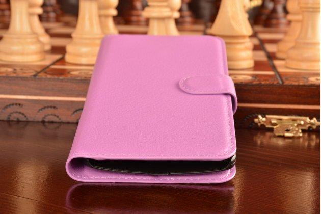 """Фирменный чехол-книжка из качественной импортной кожи с подставкой застёжкой и визитницей для Леново Вайб Икс3/ Икс3с50/ Икс3с70 5.5"""" фиолетовый"""