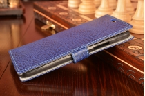 """Фирменный чехол-книжка с подставкой для Lenovo Vibe Х3/ X3c50/ X3c70 5.5""""  лаковая кожа крокодила фиолетовый"""