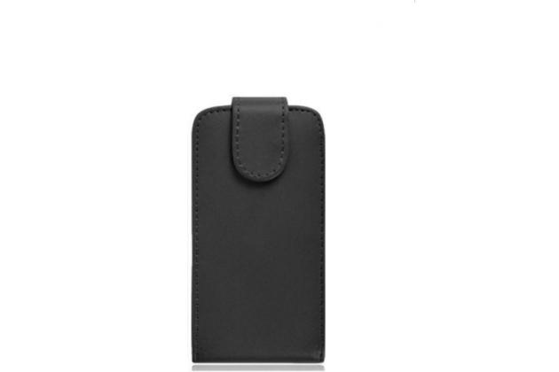 """Фирменный оригинальный вертикальный откидной чехол-флип для  Lenovo A7010 / Vibe X3 Lite/ K4 Note 5.5"""" черный из натуральной кожи """"Prestige"""" Италия"""