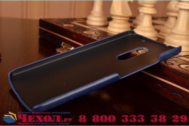 """Фирменная роскошная элитная премиальная задняя панель-крышка для Lenovo Vibe Х3/ X3c50/ X3c70 5.5"""" из качественной кожи буйвола с визитницей синяя"""