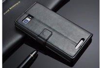 Фирменный чехол-книжка из качественной импортной кожи с подставкой застёжкой и визитницей для Леново Вайб Зет К910 черный